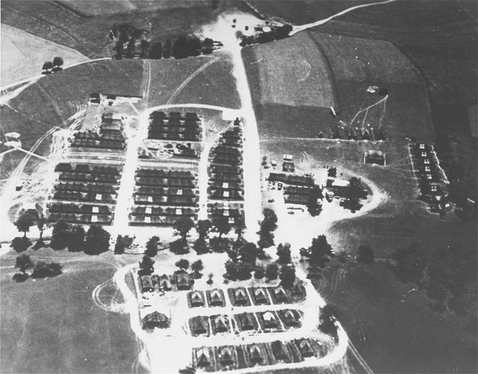 Aerial photograph of an area near the Mauthausen concentration camp, where the American army established its 130th Evacuation Hospital to care for survivors.