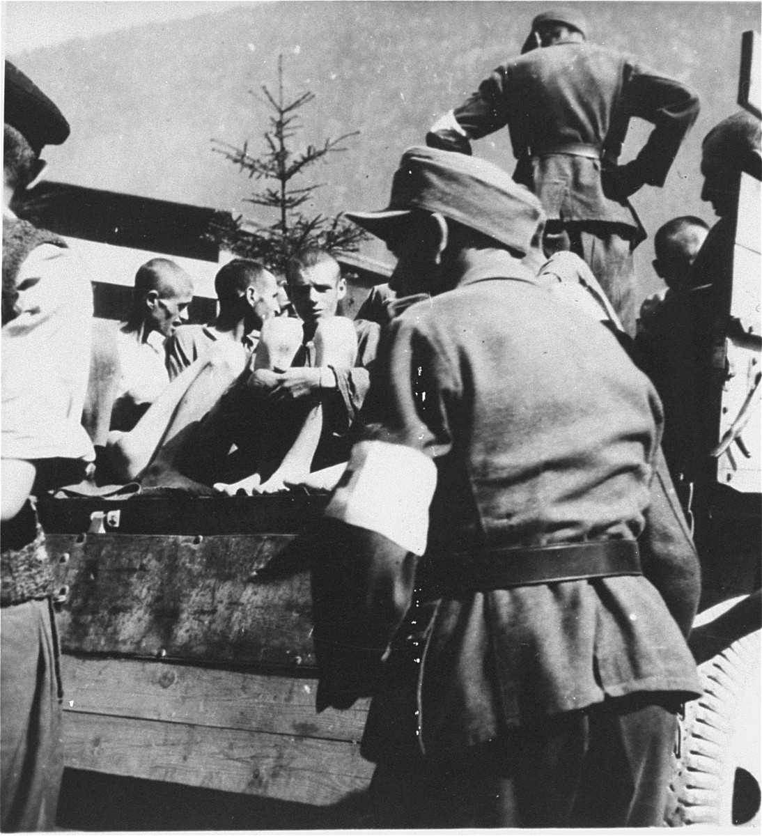 German soldiers assist in evacuating survivors from Ebensee to the 139th Evacuation Hospital for medical care after liberation.