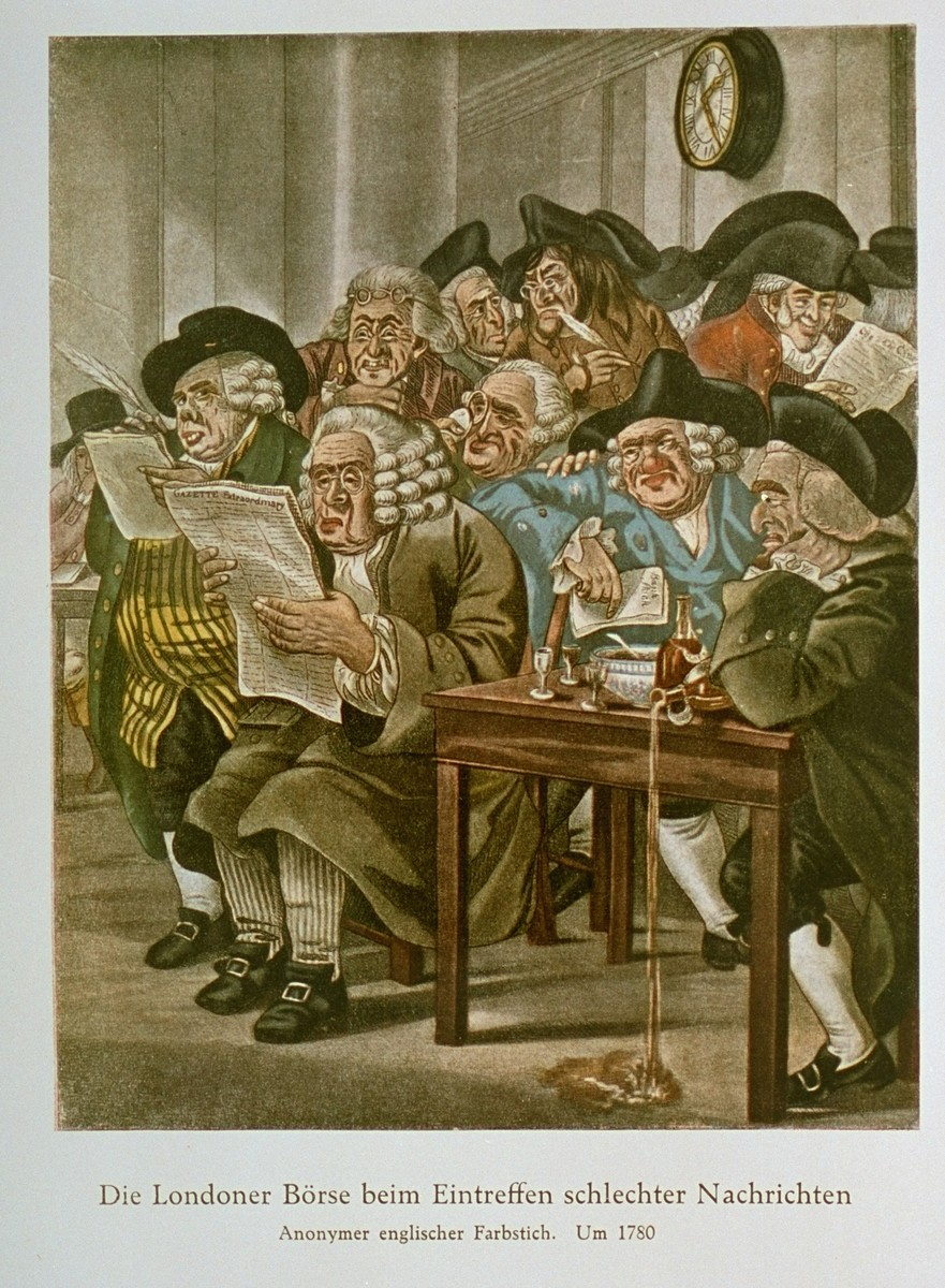 "Watercolor by an anonymous English artist, entitled ""The London Stock Exchange Receives Bad News.""  The men of the stock exchange are depicted in a characteristically antisemitic manner.   An antisemitic caricature published in Eduard Fuchs, ""Die Juden in der Karikatur: ein Beitrag zur Kulturgeschichte."" Albert Langen, 1921."