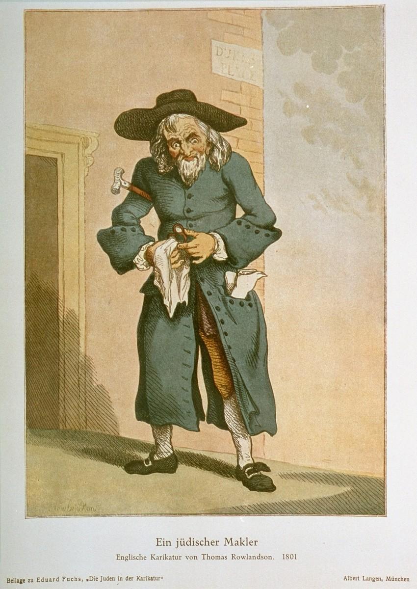 """""""A Jewish Middleman,"""" an English caricature by Thomas Rowlandson, 1801.   An antisemitic caricature published in Eduard Fuchs, """"Die Juden in der Karikatur: ein Beitrag zur Kulturgeschichte."""" Albert Langen, 1921."""
