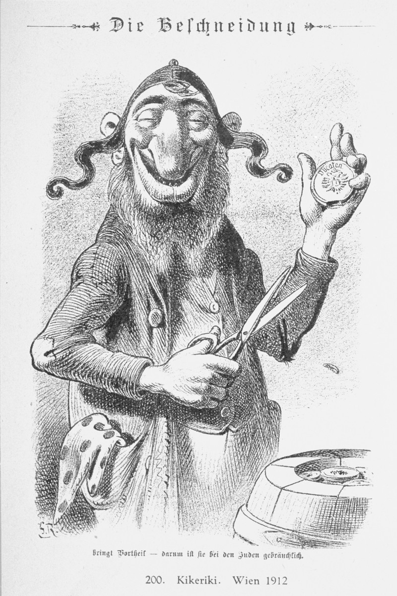 """Caricature from the antisemitic Viennese magazine Kikeriki.  The text reads: """"The Clipping [or Circumcision]  Take advantage -- it is customary for the Jew.""""   An antisemitic caricature published in Eduard Fuchs, """"Die Juden in der Karikatur: ein Beitrag zur Kulturgeschichte."""" Albert Langen, 1921."""