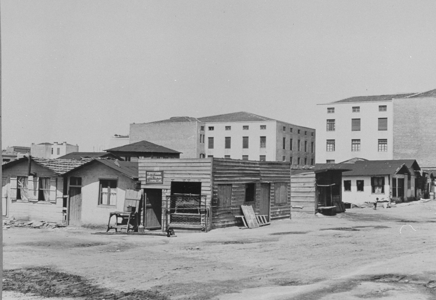 View of the temporary housing at Camp Campbell, where thousands of Jews were crowded in with Greeks and Armenians because the government was not able to provide sufficient housing.