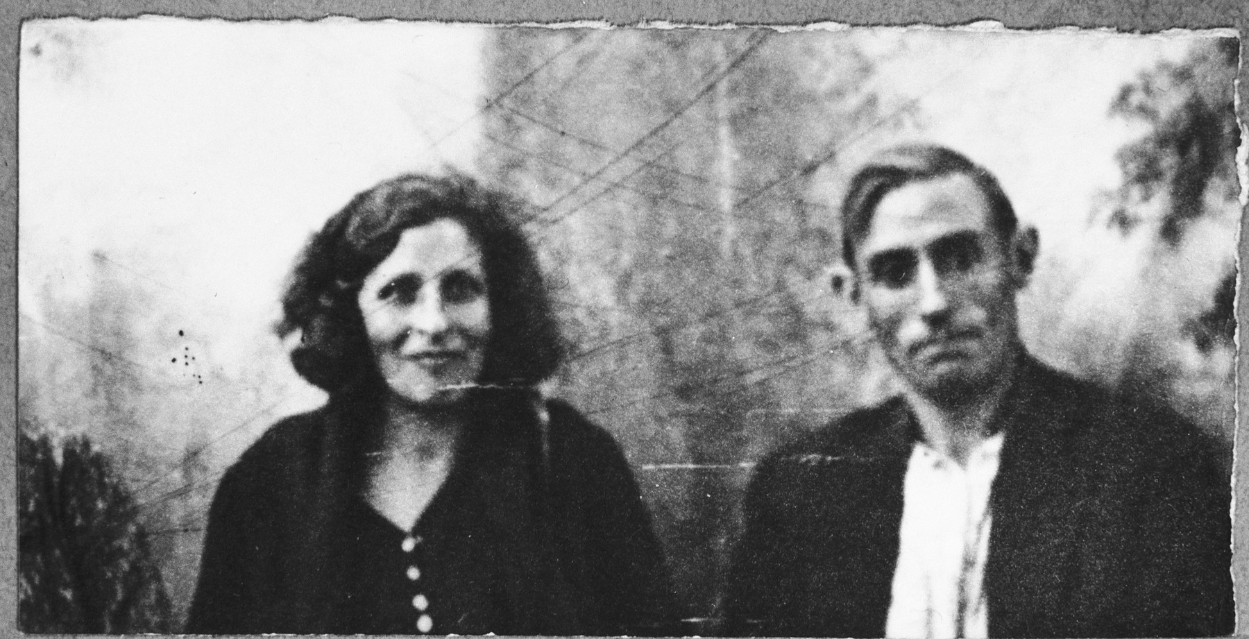 Portrait of Nissim Koen and his wife, Sol.  Nissim was a carpenter.  They lived at Karagoryeva 87 in Bitola.