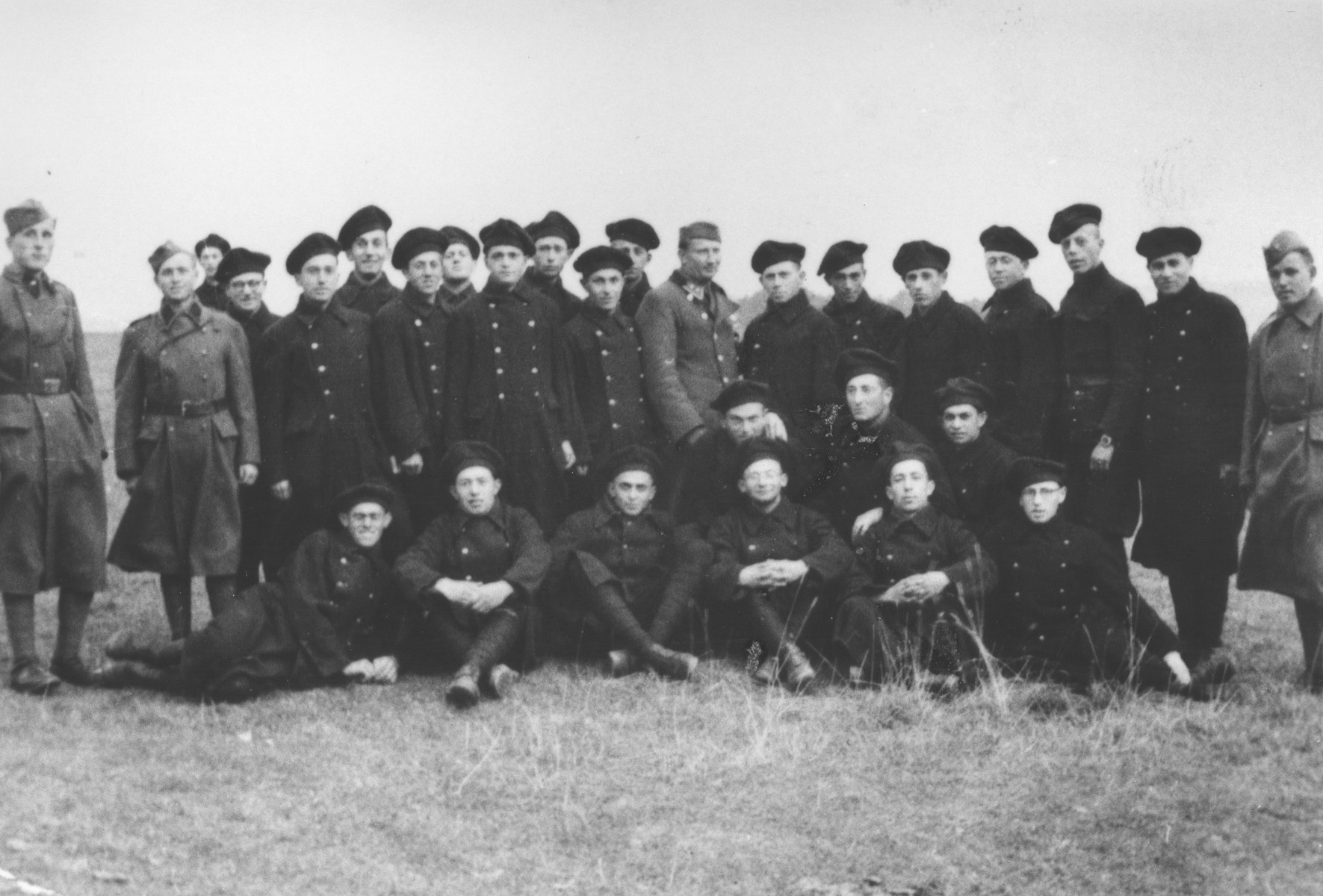 Group portrait of Jewish members of the Sixth Labor Battalion (VI Prapor) at a Slovak labor camp.