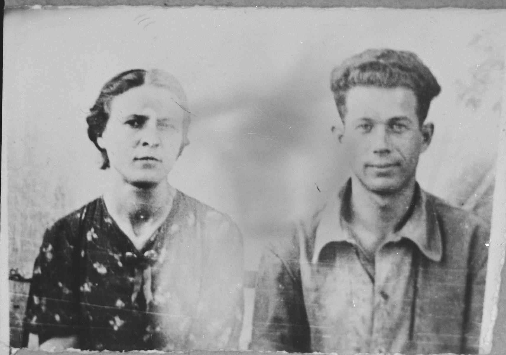 Portrait of Isak Koen, son of Mushon Koen, and Isaac's wife, Mari.  Isaac was a mechanic.  They lived at Asadbegova 1 in Bitola.