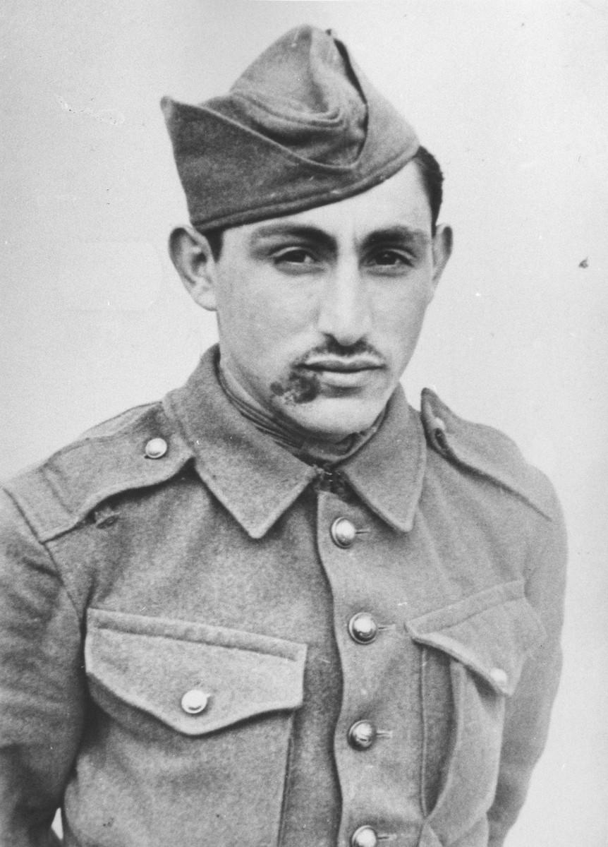Portrait of a Jewish member of the Sixth Labor Battalion (VI Prapor) at a Slovak labor camp.
