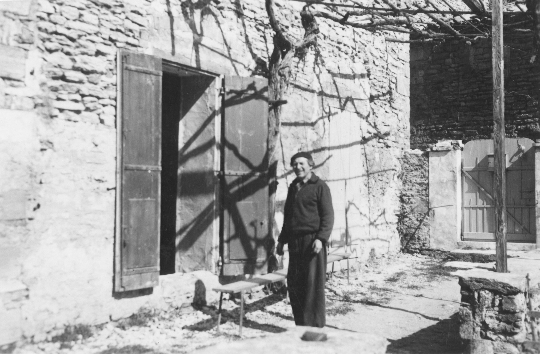 Artist Marc Chagall poses outside his studio in Gordes, France.
