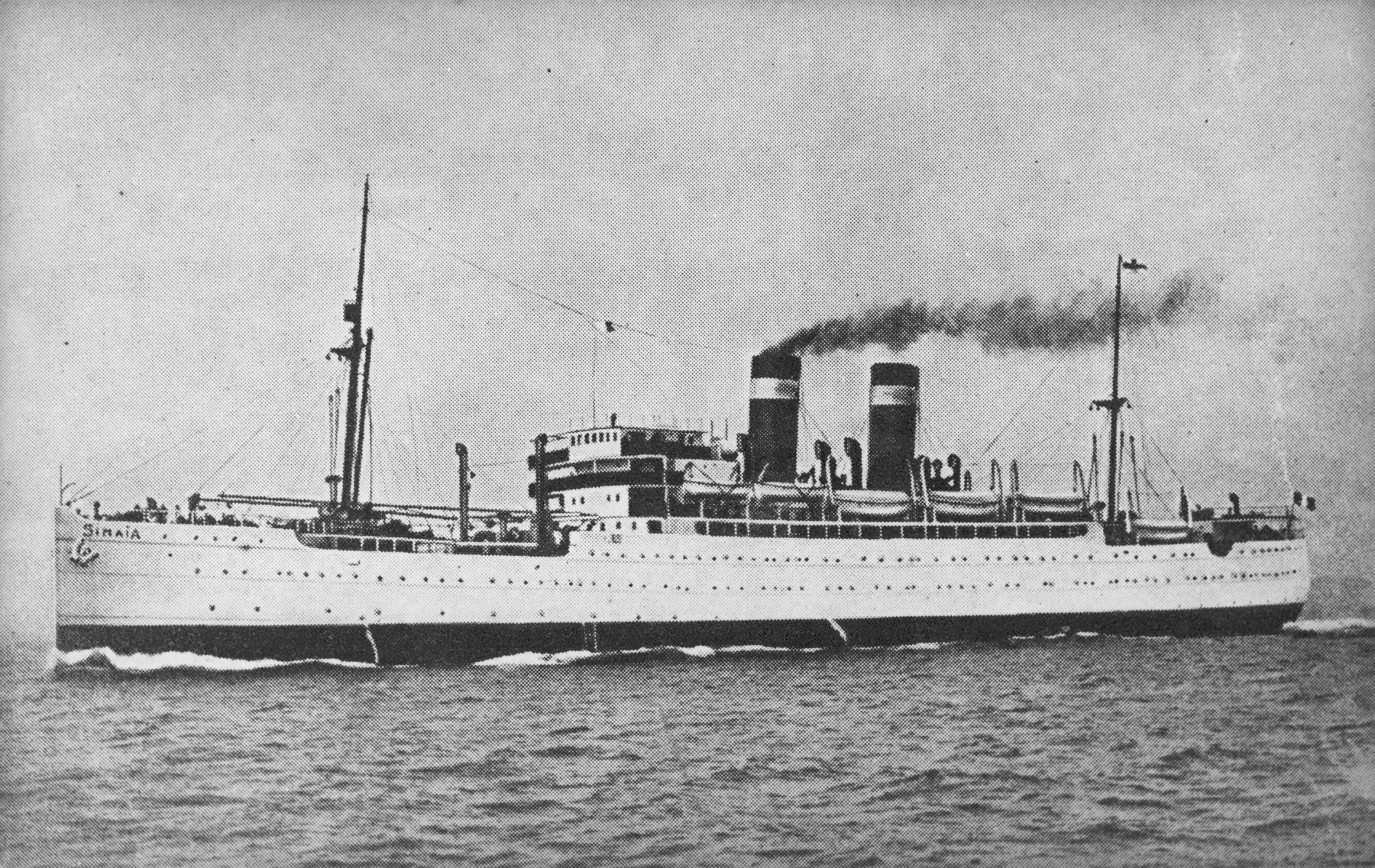 Picture postcard of the SS Sinaia, one of the ships of the Compagnie Francaise de Navigation a Vapeur Cyprien Fabre & Compagnie line that sailed between Marseilles and destinations in North and South America.