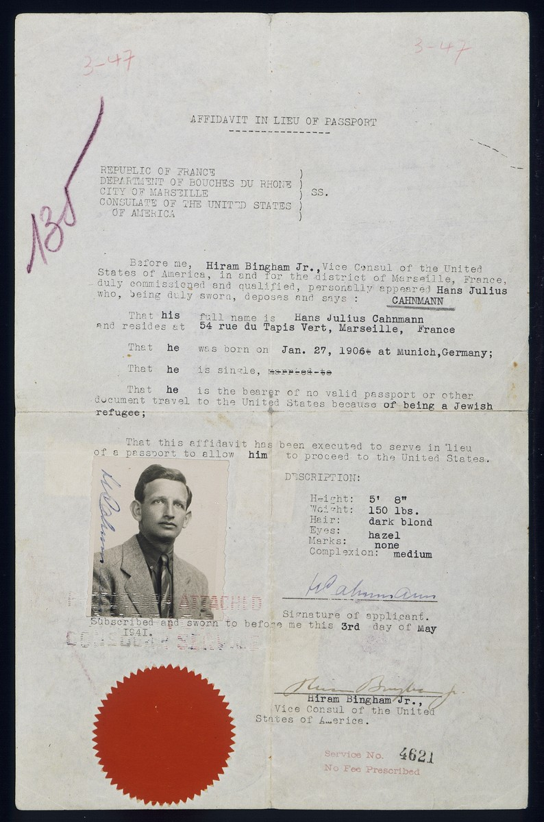 Affadavit in lieu of passport issued to Hans Julius Cahnmann by Hiram Bingham, Jr., Vice Consul of the United States of America for the district of Marseille, France.