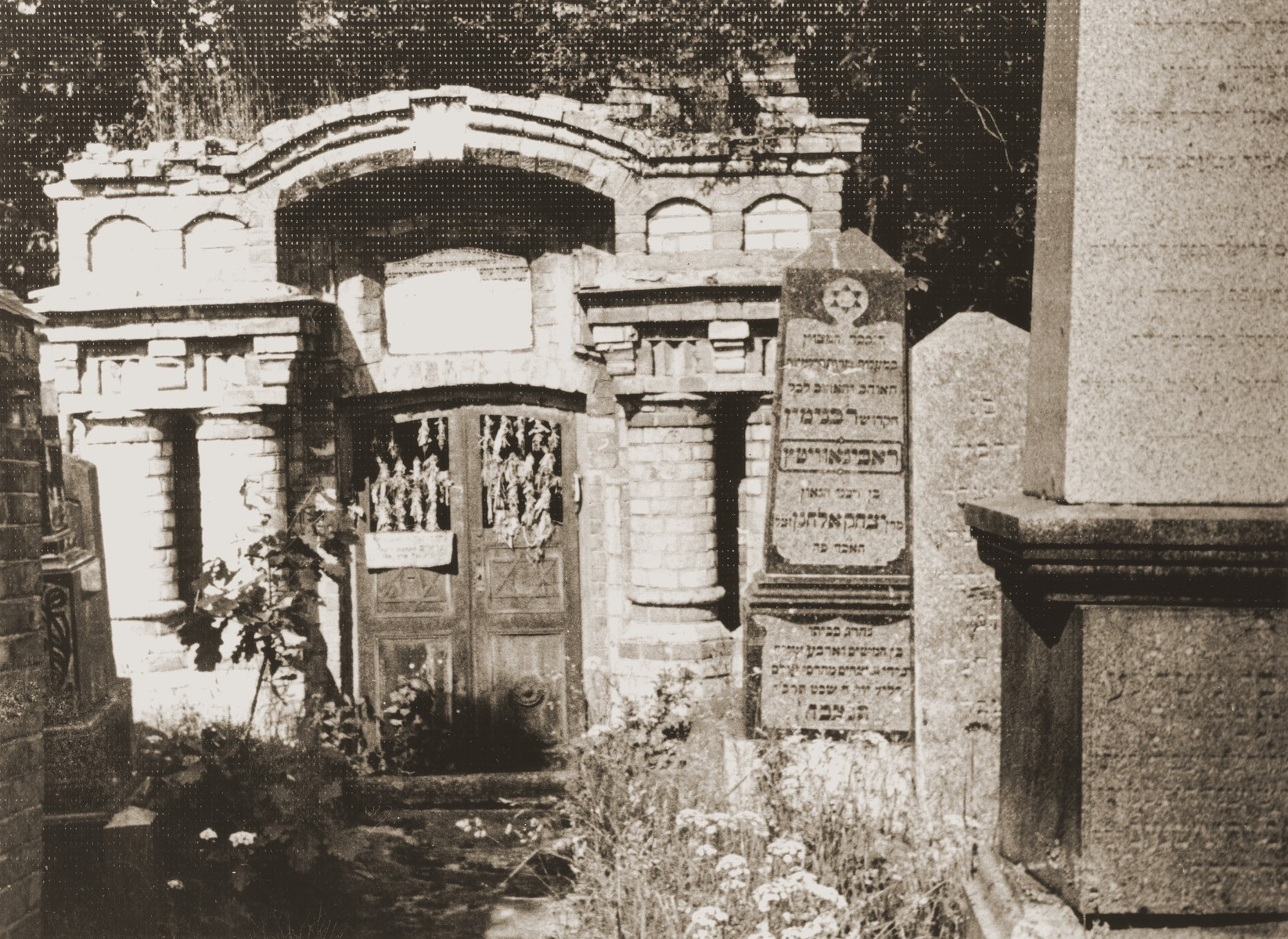 View of the Kovno Jewish cemetery with the tombstone of Rabbi Isaac Elhanan Spektor.