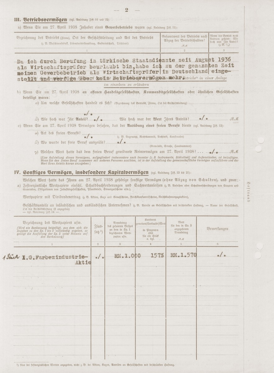 Form for the registration of Jewish property filled out by Konrad Engelmann, a German Jew who had converted to Christianity.