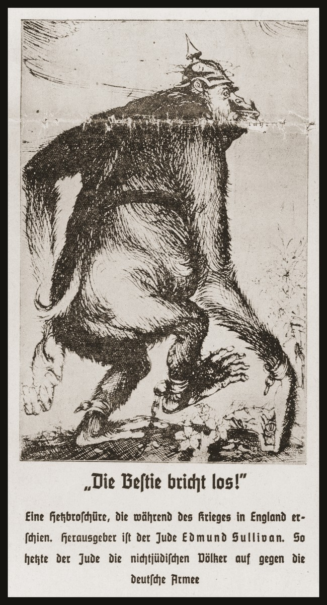 "Caricature on the front page of the Nazi publication, Der Stuermer, depicting the Jew as the instigator of war.  The caption reads, ""The beast is on the loose!/A hate brochure which appeared during the war with England./Published by the Jew Edmund Sullivan.  This is how the Jew incites the non-Jewish peoples against the German Army."""