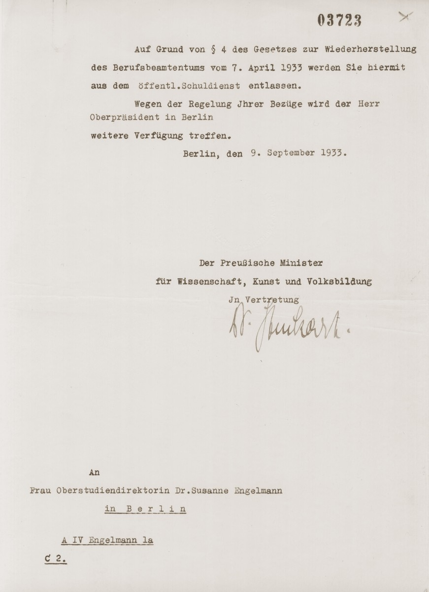Letter notifying Dr. Susanne Engelmann that she has been dismissed from her teaching position in compliance with the Civil Service Law of April 7, 1933.