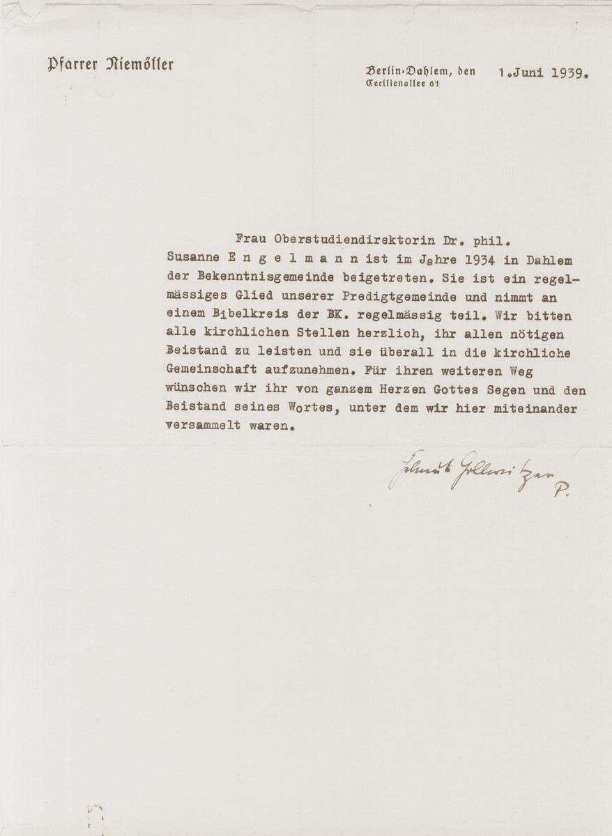 Letter of introduction for Susanne Engelmann, written on the stationery of Pastor Martin Niemoeller and signed by Pastor Helmut Gollwitzer.