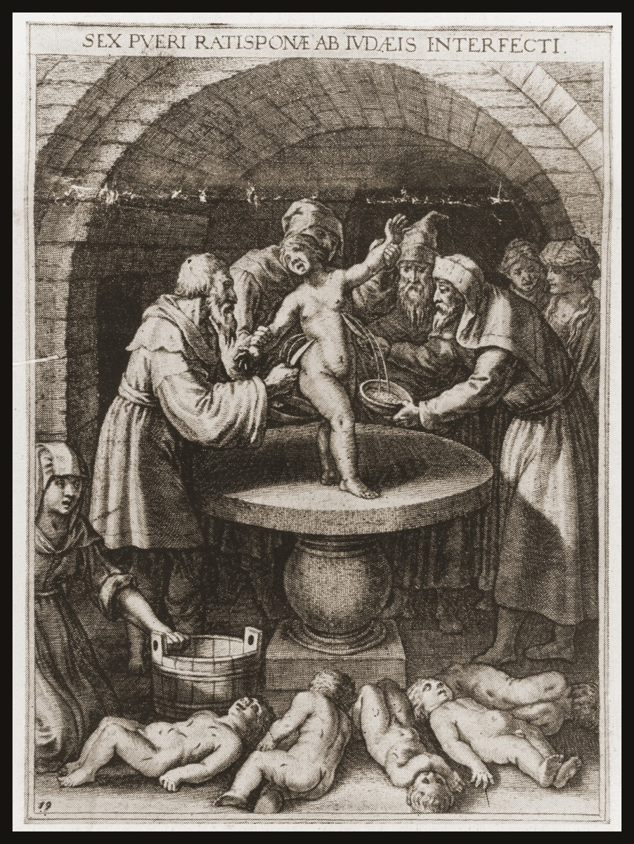 """Etching on the front page of the Nazi publication, Der Stuermer, depicting a ritual murder.    The caption reads, """"In 1476 the Jews of Regensburg murdered six boys.  They extracted their blood and put them to death as martyrs.  The judges found the bodies of the deceased in a subterranean space, which belonged to the Jew Josfal.  On an altar there stood a stone plate flecked with blood."""""""
