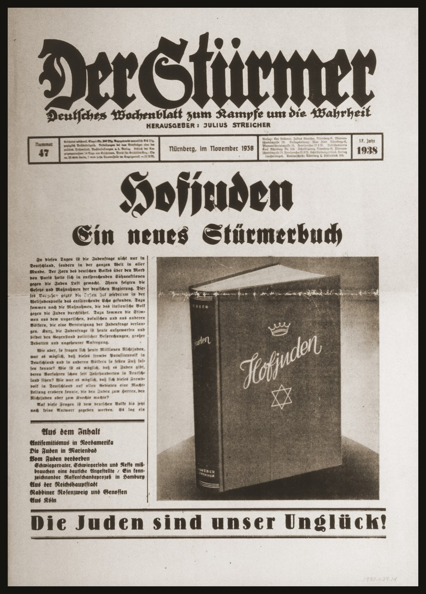 """Front page of the Nazi publication, Der Stuermer, featuring an article and picture of the new """"Stuermerbuch"""" [Stuermer publication], Hofjuden [Court Jews]."""