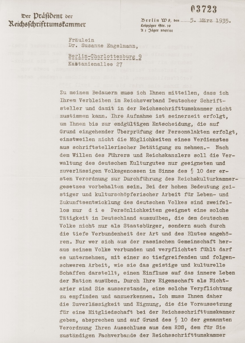Letter to Susanne Engelmann from the president of the Reich Authors' Guild informing her that her membership cannot be renewed until her records have been reviewed.