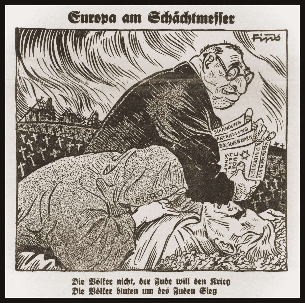 """Caricature from Der Stuermer depicting the Jew as the inciter of world war.    The headline reads, """"Who is the Enemy?/ Incitement to world war and the Jewish Protocol of Basel/ Europe at the slaughterer's knife blade.""""  The caption under the caricature reads, """"The Jew wants the war, the peoples do not/ The people bleed and the Jews are victorious."""""""