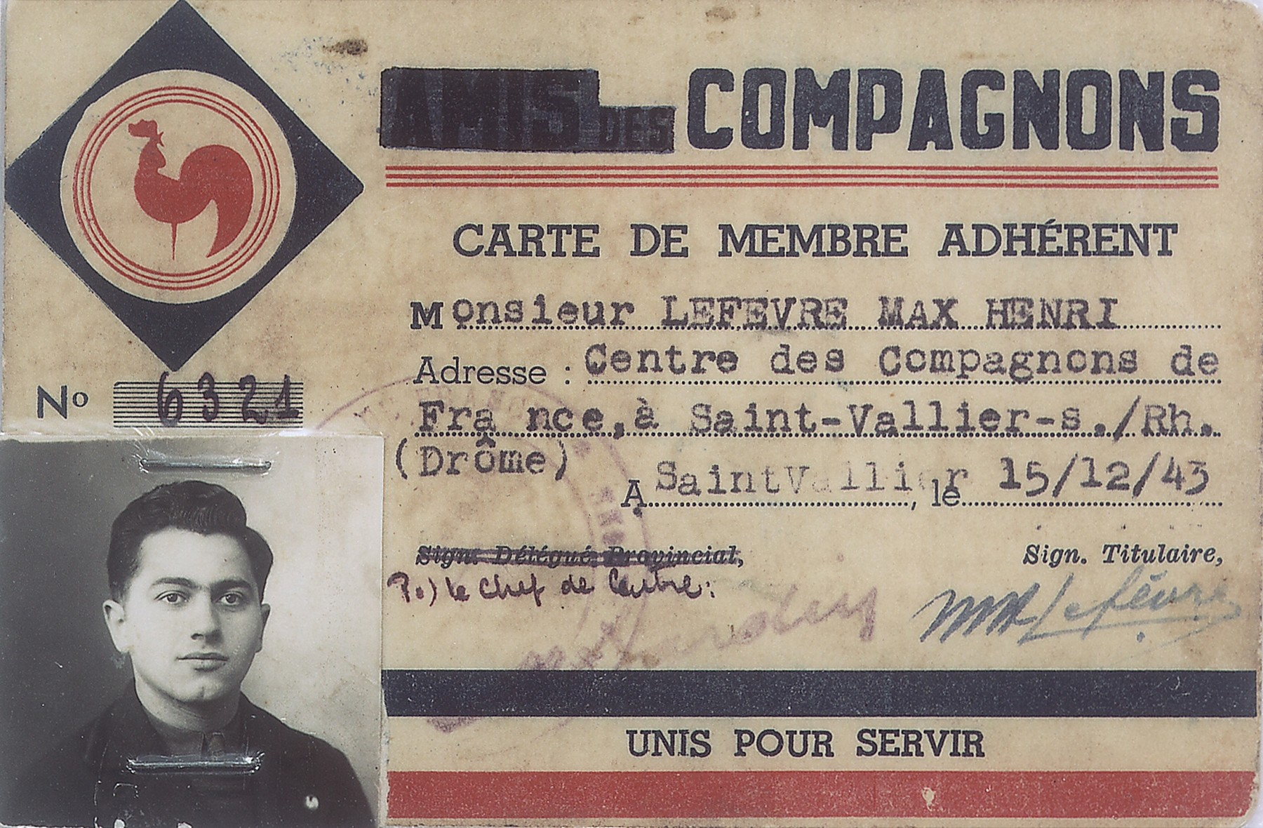 False membership card in the Vichy paramilitary youth organization, Compagnons de France that belonged to Leo Bretholz, an Austrian Jew living in hiding under the name of Max Lefevre.