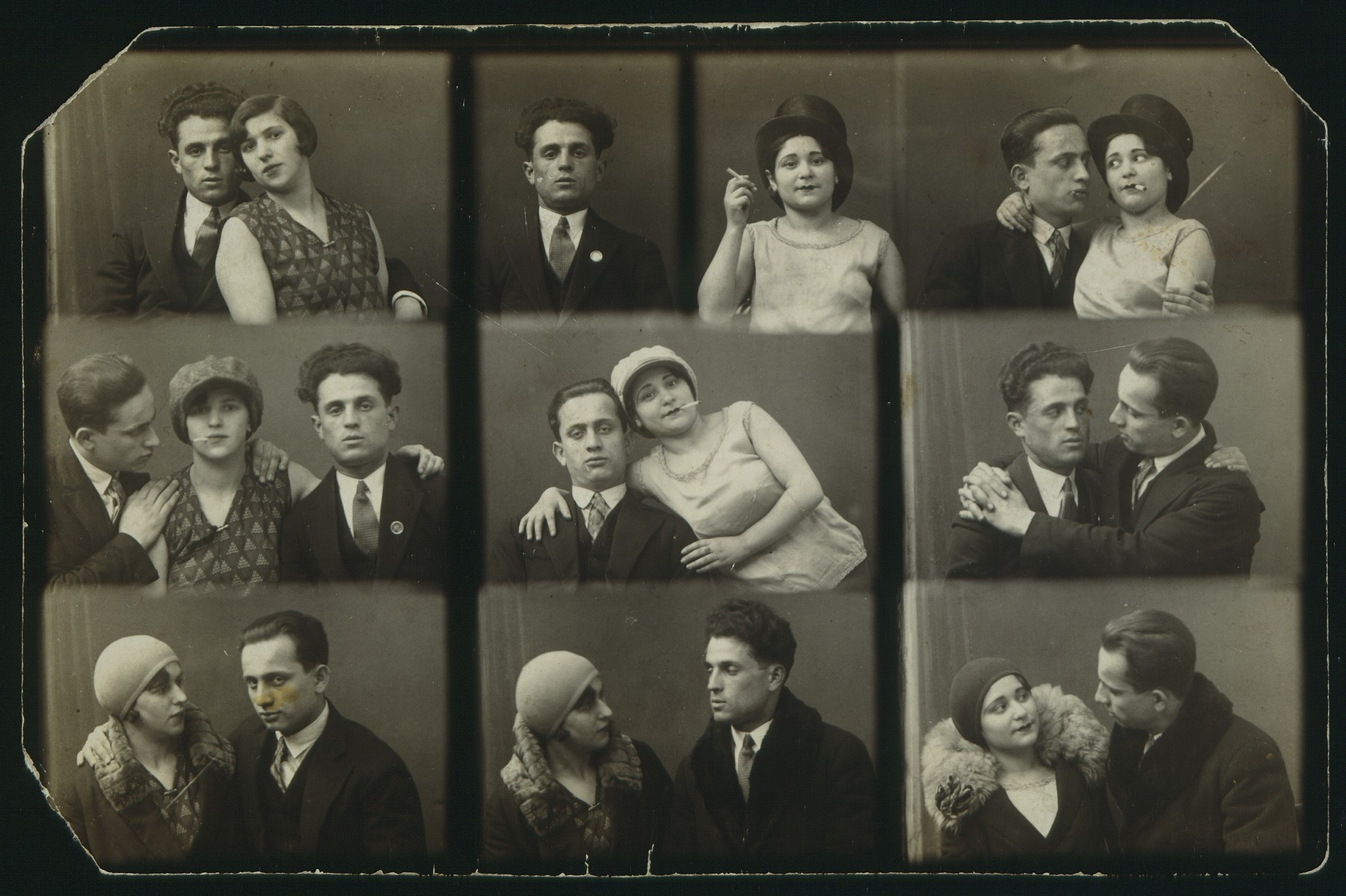 Composite photo of Jewish friends in humorous poses.   The two men are Michael Portnoy and Avraham Jurdyczanski.  The woman was a friend from Vilna.  Only Michael Portnoy survived.