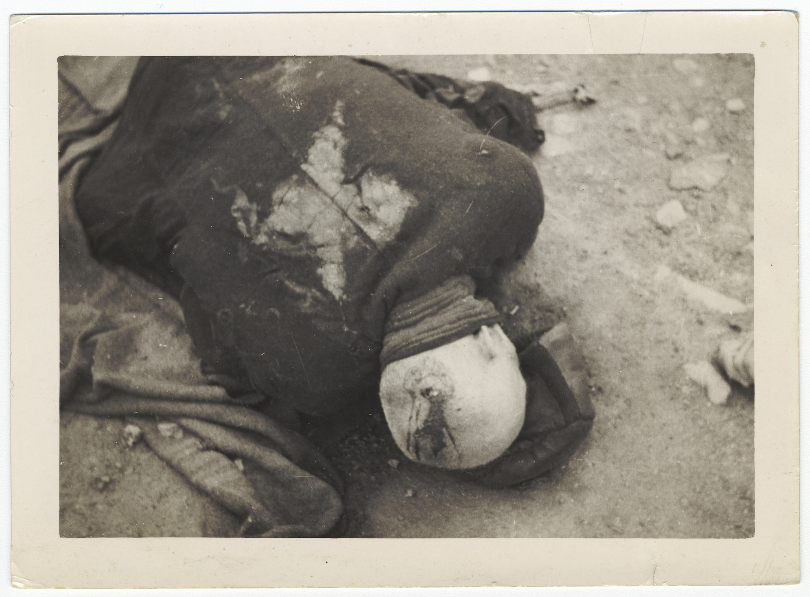 The body of a prisoner executed at the Ohrdruf concentration camp.