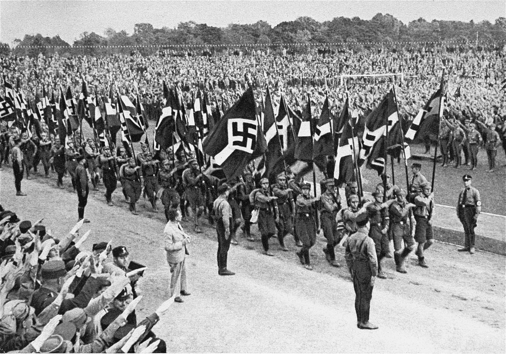 Hitler Youth members marching at a Reich Youth Day rally in Potsdam.
