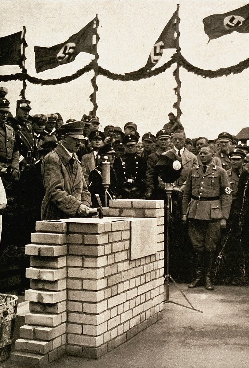 Adolf Hitler lays the cornerstone for a communal meeting hall at Adolf-Hitler-Koog (land reclaimed from the sea) in Dithmarschen, Germany.