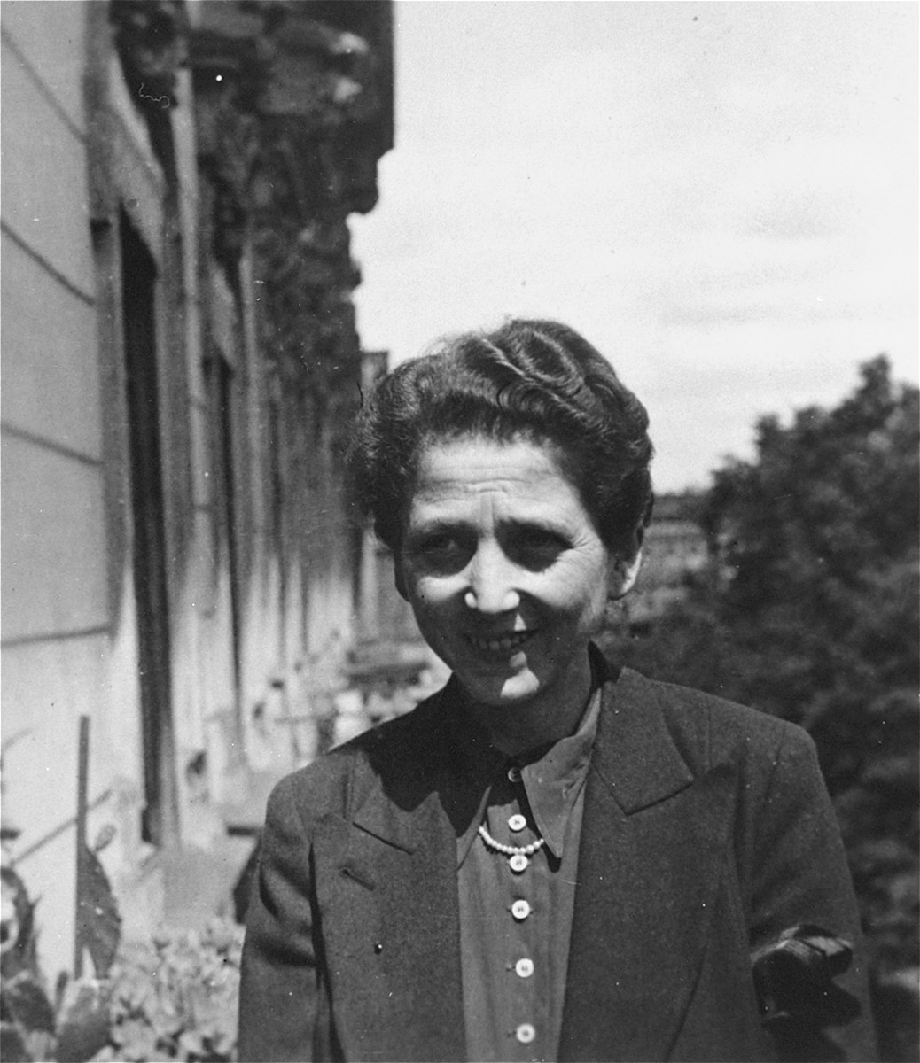 Portrait of Lydia (Wolffberg) Ellgass outside her apartment located on Klopstockstrasse 18 in Berlin.  Lydia was deported to Riga in 1943.