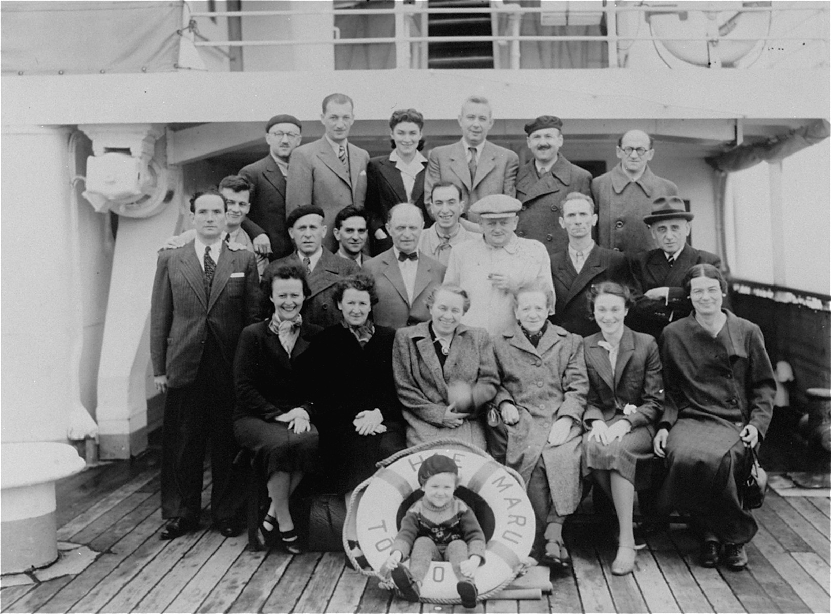 Polish-Jewish refugees aboard the Hae Maru en route to Vancouver, Canada from Japan.  These refugees escaped Europe with Japanese transit visas issued by Chiune Sugihara in Kaunas, Lithuania.