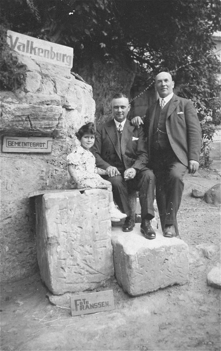 Members of the Dahl and David families on vacation in Valkenburg, Holland.    Pictured from right to left are Emil Dahl, Heinrich David, and Ilse David.  Only Ilse survived the war.