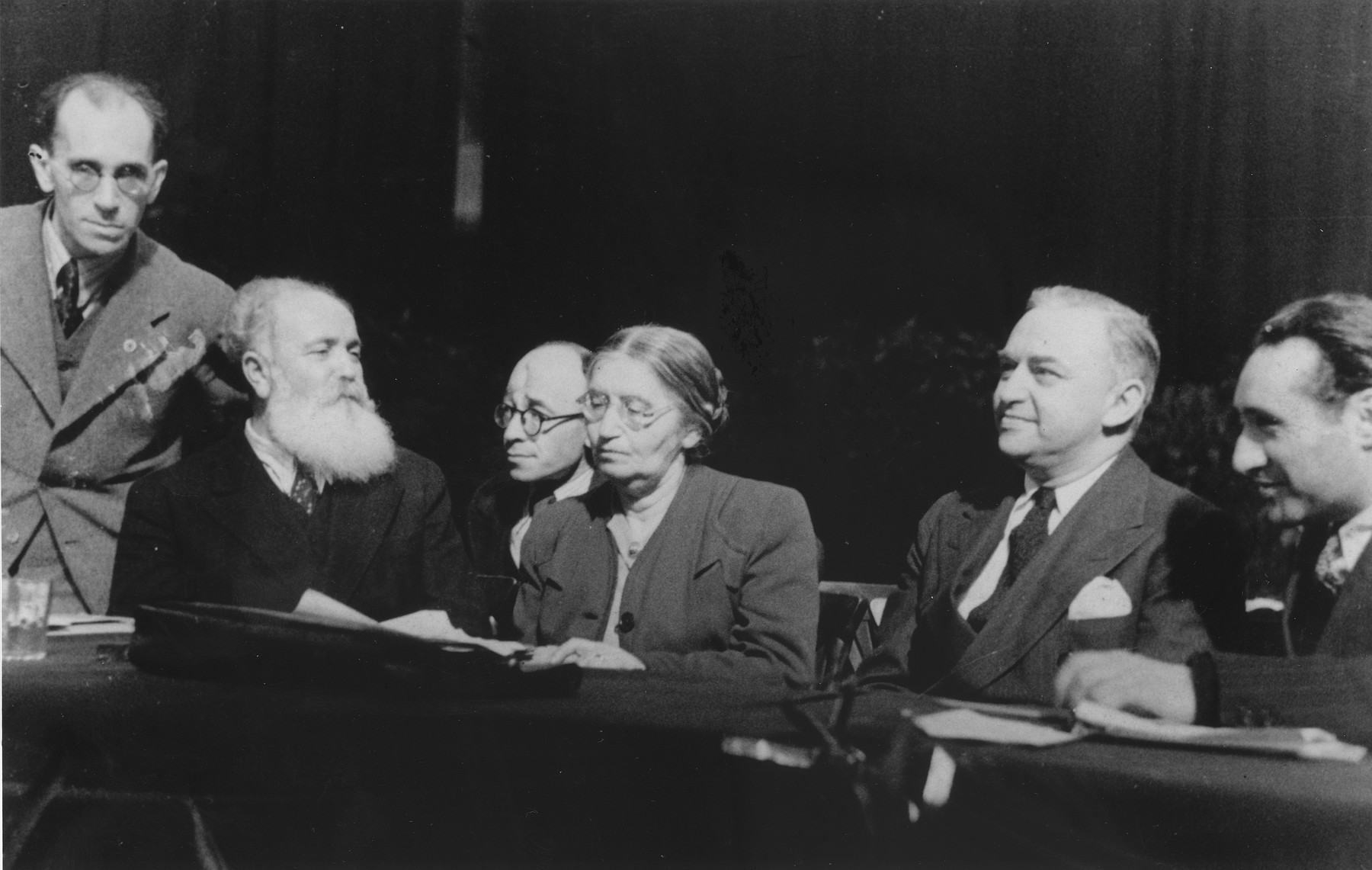 Jewish leaders attend a conference in the US Zone of Germany.   Among those pictured are Jacob Zerubavel (second from the left) and Rabbi Philip Bernstein (second from the right).