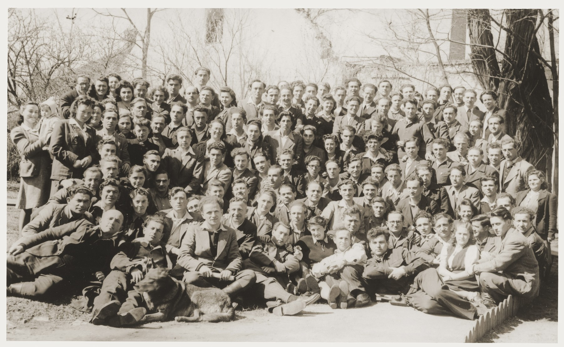 Group portrait of the members of the Kibbutz Nili hachshara (Zionist collective) in Pleikershof, Germany.