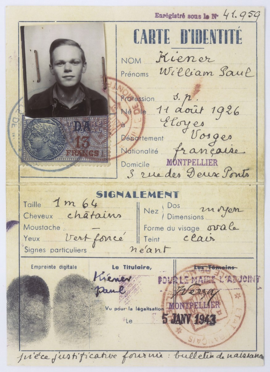 False identity card used by Walter Karliner while in hiding in Vichy France.