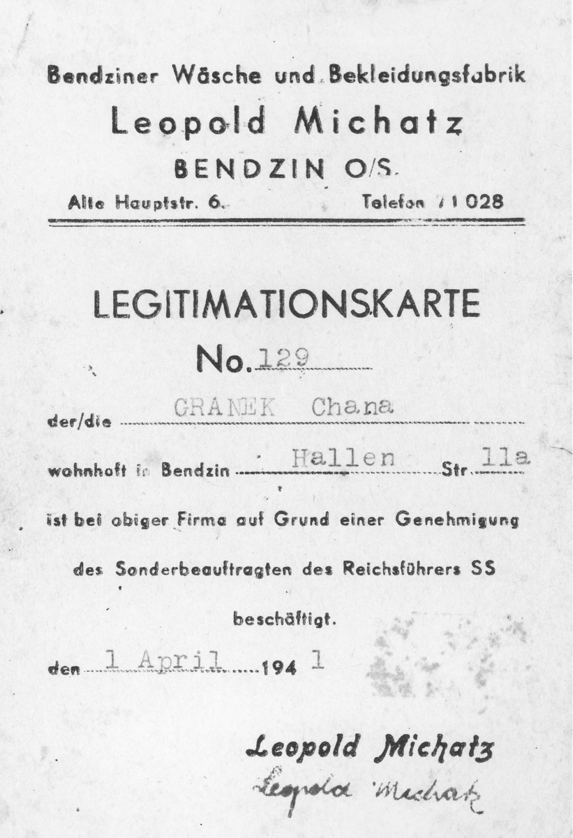 Work permit issued on April 1, 1941 to Chana (Hanka) Granek authorizing her employment at the Leopold Michatz garment factory in the Bedzin ghetto.