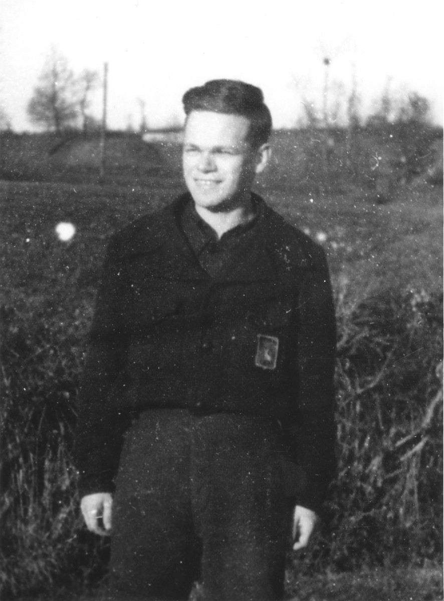 Walter Karliner dressed in the uniform of the Vichy fascist youth movement, Moissons Nouvelles.