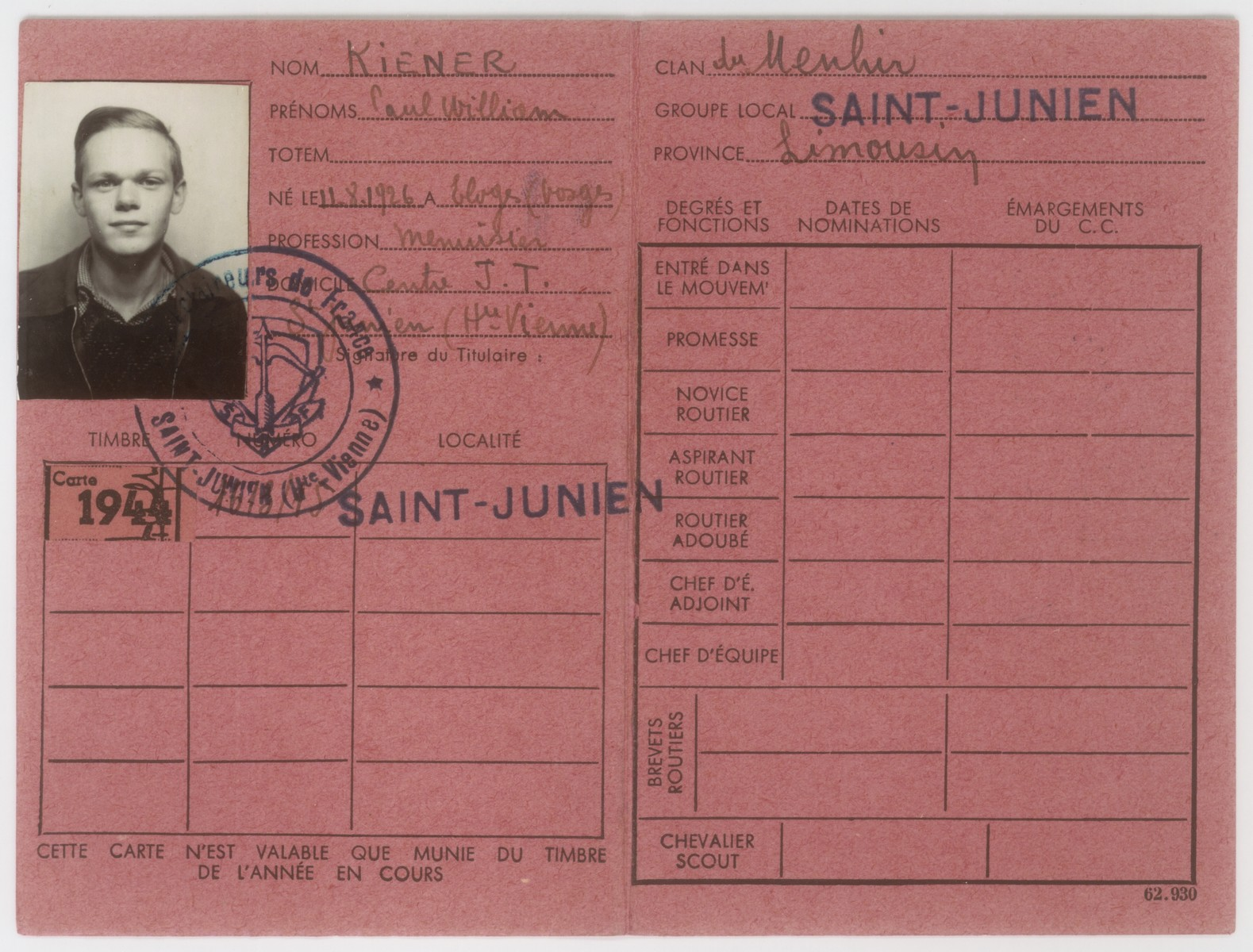 Identity card issued to Walter Karliner at the national center of the Vichy fascist movement, Moissons Nouvelles, in St. Junien.