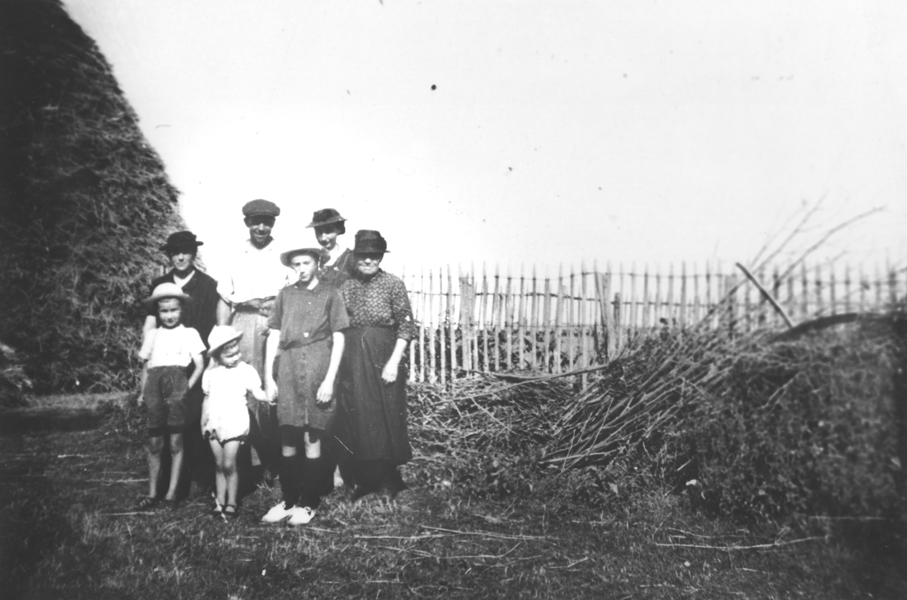 Portrait of the French family who employed Julien Bluschtein on their farm during the German occupation of France.