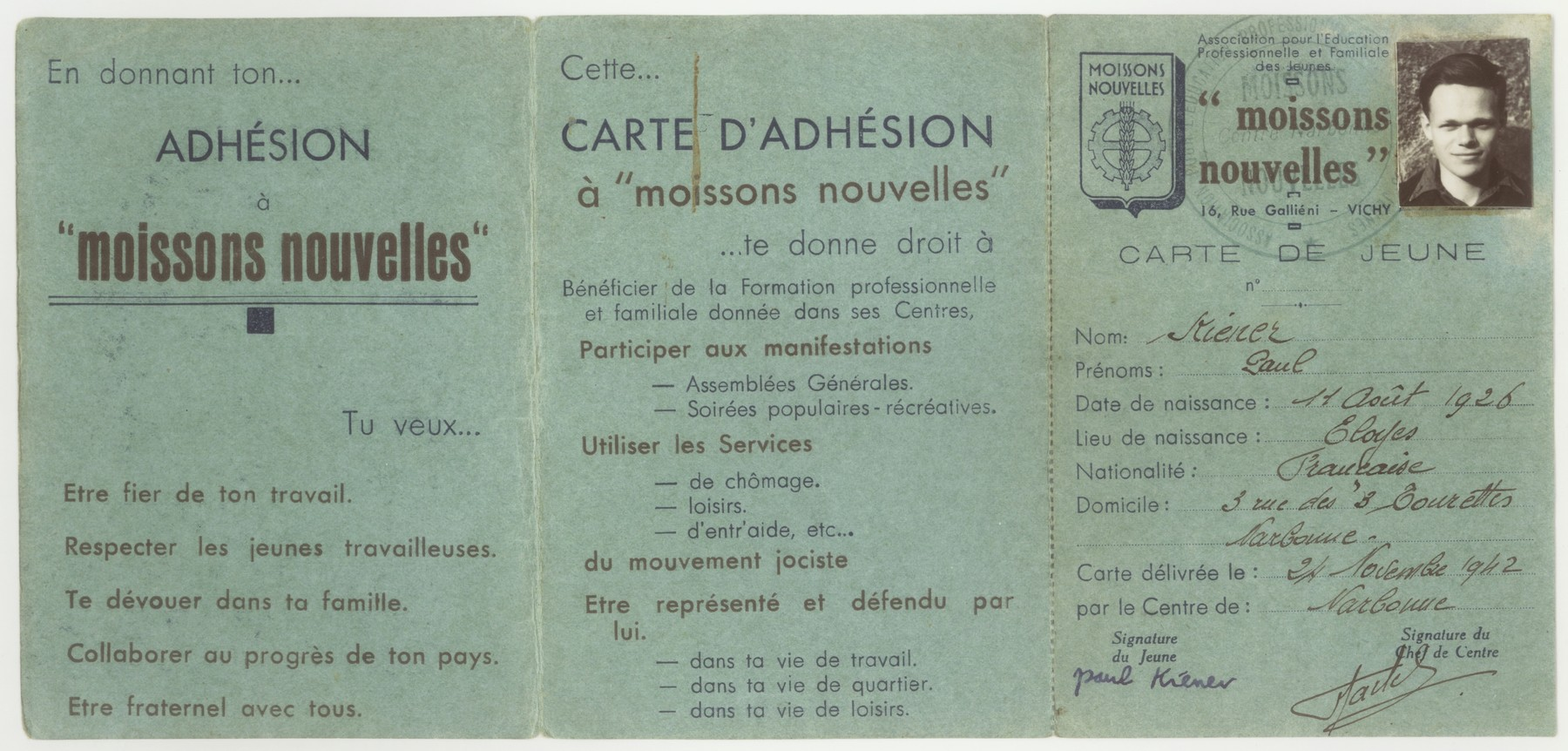 A membership card in the Vichy fascist youth movement, Moissons Nouvelles, issued to a Jewish youth in hiding.