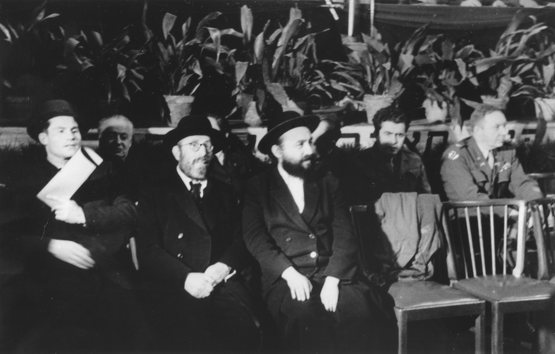 Participants at the second conference of the Central Committee of Liberated Jews in the US Zone of  Germany.  Seated third from the left is Rabbi Samuel Snieg from Kovno.