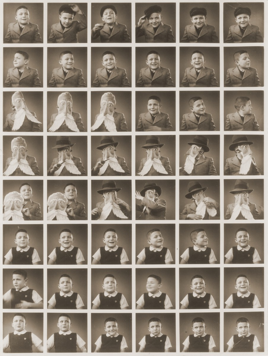 "Sequence of photos of Shmuel Rabinovitch taken in a ""polyphoto"" with a Purim mask.  His father owned the polyphoto machine and kept it in his store."