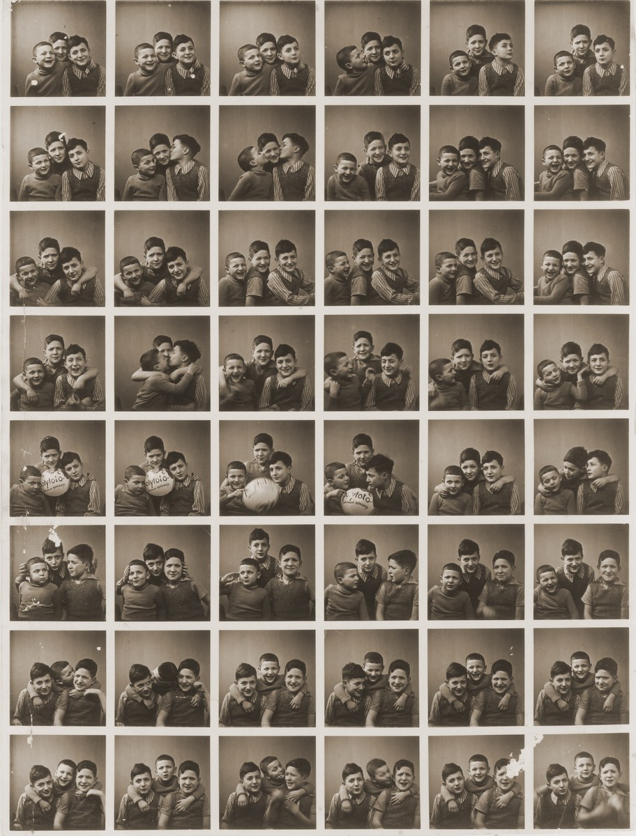 "Sequence of photos of Shmuel, Amos and Binyamin Rabinovitch taken in a ""polyphoto.""  His father owned the polyphoto machine and kept it in his store."
