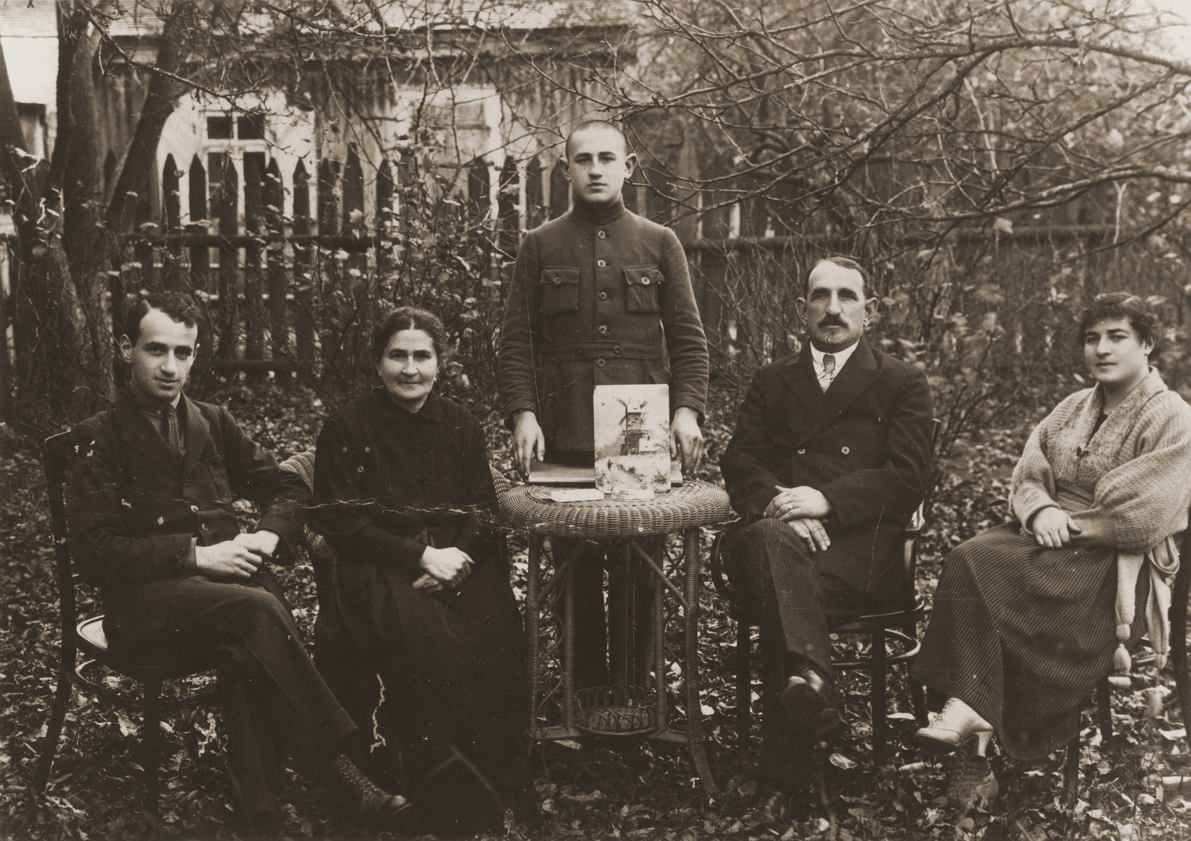 Portrait of the Baron family in the yard of their home in Sirvintos, Lithuania.