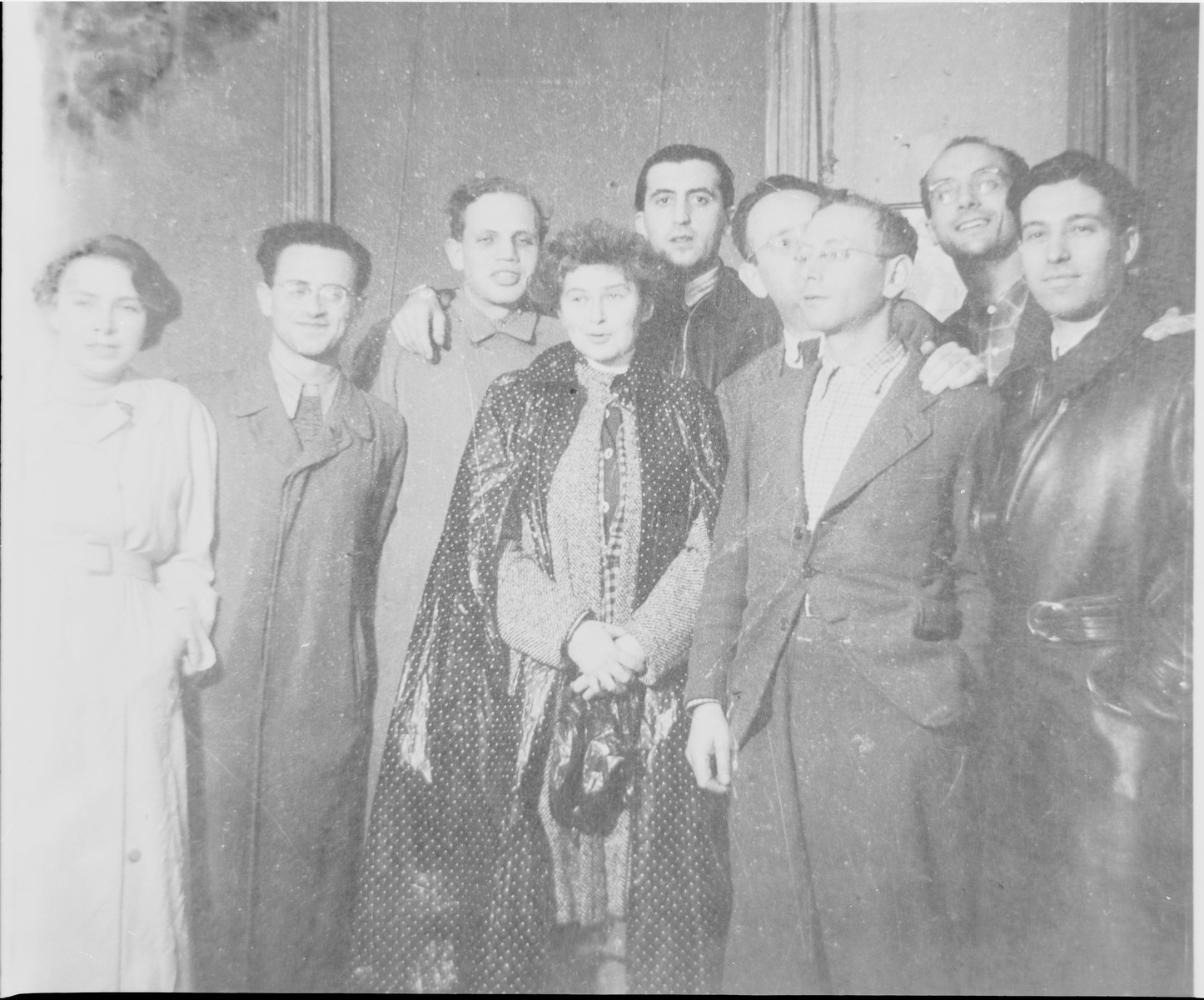 Last meeting of the Youth Aliyah leadership in Berlin.  Pictured from left to right are: Lotte Kaiser, Arthur Posnanski, Hans Wolfgang Cohn, Sonja Okun, Alfred Selbiger, Ludwig Kuttner, Kurt Silberpfennig, Jizchak Schwersenz, and Herbert Growald.
