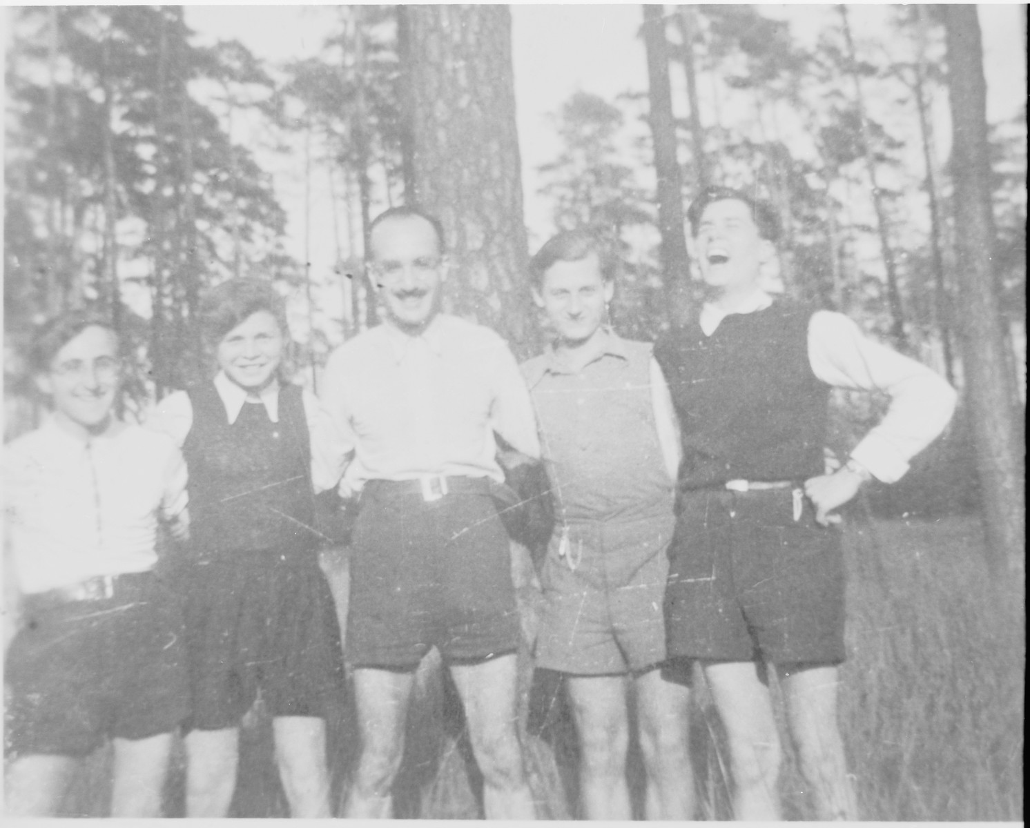 Members of the Chug Halutzi underground Zionist youth group during a hike in the Grunewald Forest.    Pictured from left to right are: Gad Beck, David Billard, Jizchak Schwersenz, Zwi Abrahamssohn, and Leopold (Poldi) Chones.