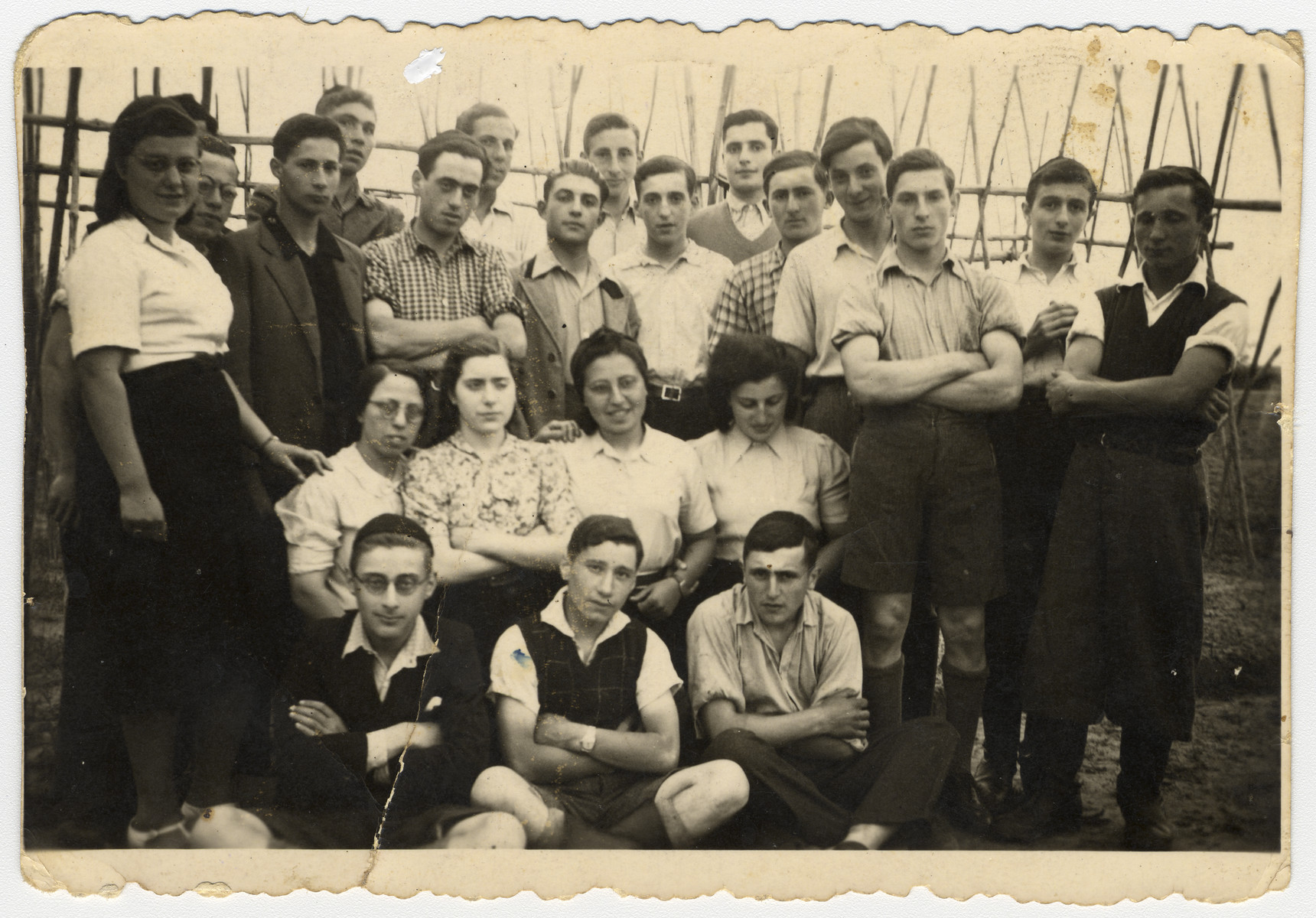 Group portrait of German religious Zionists in a hachshara (Zionist training camp) in Neuendorf.  Among those pictured is Joseph Schwarz, top row, seventh from the left.