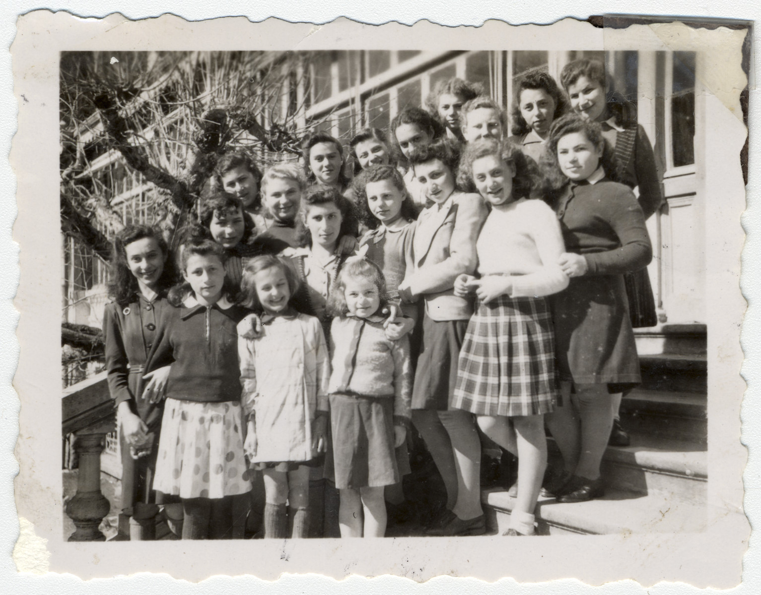 Group portrait of Jewish girls in the Agudat Yisrael home in Henonville.