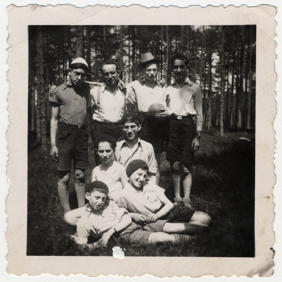 Members of the religious youth group, Ezra, go for an excursion outside of Nuremberg, Germany.  Pictured are Meir Schwarz, front row, left.  Also pictured are Shmuel Ediman, David Klugman, Adolf Berenbaum, Raphael Klugman and Aaron Cohen.