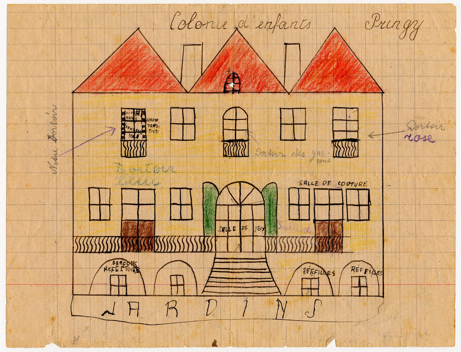 Children's drawing of the Pringy children's home.