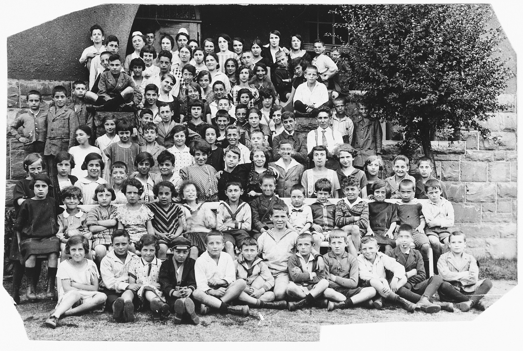 Group pictured of German Jewish children in a summer camp in Bad Sassendorf.  Gerd Zwienicki is in the center of the front row.