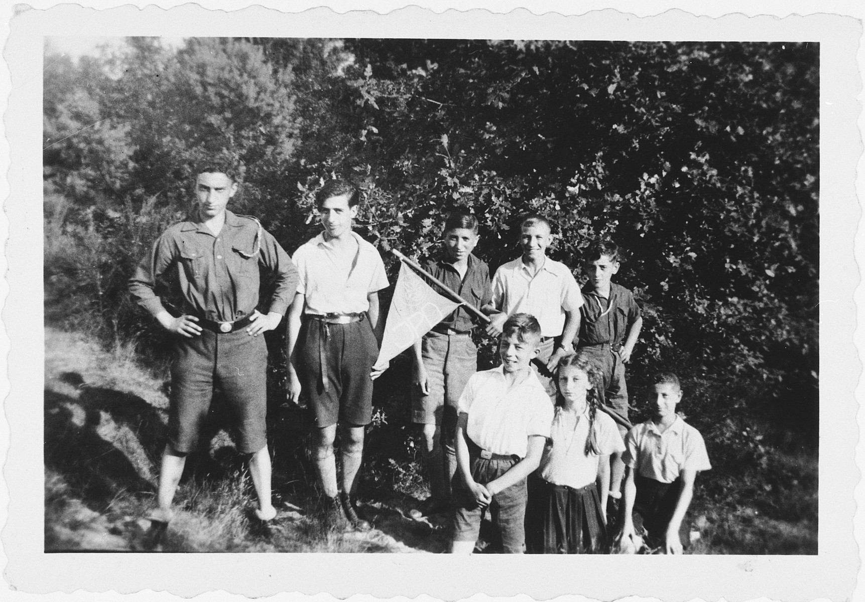 German Jewish boy scouts (Pfadfinder) go on an outing in Verden.  Pictured second from the left is Heinz Josephs.